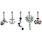 more details on Metal Crown and Anchor Belly Bars - Set of 5.