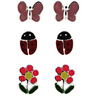 more details on Link Up S.Silver Enamel Buttefly Ladybird, Flower Studs.