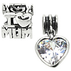 more details on Link Up Crystal Heart Mum Drop Charms - Set of 2.