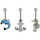 more details on Stainless Steel Dolphin, Anchor, Seahorse Crystal Belly Bars
