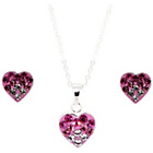 more details on Link Up Sterling Silver Pink Heart Studs and Necklace Set.