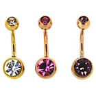 more details on Link Up Stainless Steel Gold Belly Bars - Set of 3.