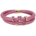 more details on Link Up 2 Row Light Pink Leather Cord Charm Bracelet.