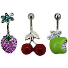 more details on Stainless Steel Crystal  Fruits Belly Bars - Set of 3.
