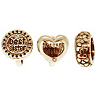 more details on Link Up Rose Gold Plated Silver Best Sister Charms - 3.