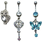 more details on Link Up S.Steel Owl, Butterfly, Key Crystal Belly Bars.