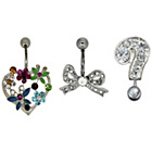 more details on Link Up S.Steel Heart, Bow, Question Mark Crystal Belly Bars