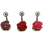 more details on Stainless Steel Purple/Red/Pink Rose Belly Bars - Set of 3.