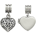 more details on Link Up Sterling Silver Heart Drop Charms - Set of 2.