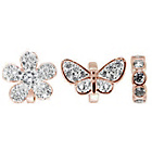 more details on Link Up Rose Gold Plated Butterfly and Flower Charms - 3.