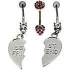 more details on Stainless Steel Pink Crystal Belly Bars - Set of 3.