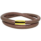 more details on Link Up 2 Row Brown Leather Cord Bracelet.