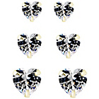 more details on Gold Plated Silver Crystal Heart Stud Earrings - Set of 3.