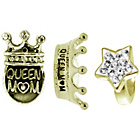 more details on Link Up Gold Plated Silver Crystal Queen Mum Charms - 3.