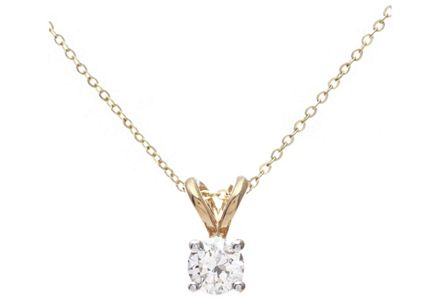 Cut out image of a 9ct gold 0.25ct diamond solitaire pendant.