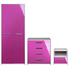 more details on Sywell 3 Piece 2 Door Wardrobe Package - Pink.