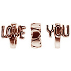 more details on Link Up Rose Gold Plated Silver Love You Charms - Set of 3.