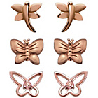 more details on Rose Gold Plated Silver Butterfly Stud Earrings - Set of 3.