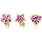 more details on Link Up Gold Plated Silver Pink Crystal Charms - Set of 3.