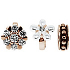 more details on Link Up Rose Gold Plated Pearl and Crystal Flower Charms - 3