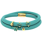 more details on Link Up 2 Row Turquoise Leather Cord Charm Bracelet.