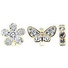 more details on Link Up Gold Plated Crystal Butterfly and Flowers Charms - 3