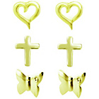 more details on Gold Plated Silver Heart, Cross, Butterfly Earrings-Set of 3