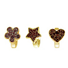 more details on Link Up Gold Plated Flower, Star and Heart Charms - Set of 3