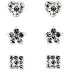 more details on Link Up Sterling Silver Glitter Stud Earrings - Set of 3.