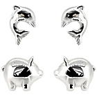more details on Sterling Silver Dolphin and Pig Stud Earrings - Set of 2.