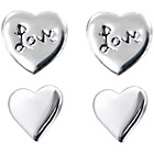 more details on Link Up Sterling Silver Love Heart Stud Earrings - Set of 2.