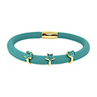 more details on Link Up Single Row Turquoise Leather Cord Charm Bracelet.