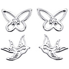 more details on Sterling Silver Bird and Butterfly Stud Earrings - Set of 2.