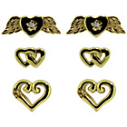 more details on Link Up Gold Plated Silver Heart Stud Earrings - Set of 3.