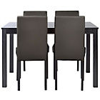 more details on HOME New Elmdon Dining Table and 4 Chairs - Black.