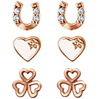 more details on Link Up Rose Gold Plated Shamrock and Horseshoe Earrings - 2