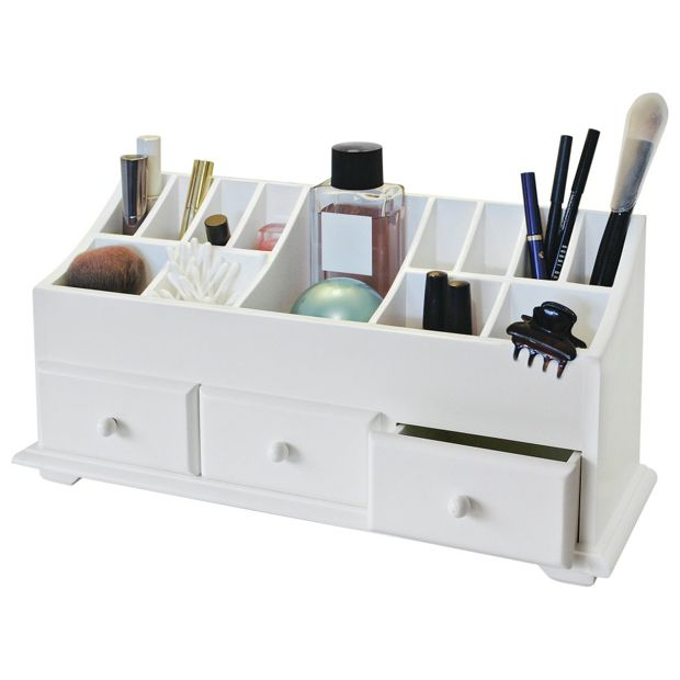 Buy home 3 drawer cosmetics caddy white at for Bathroom accessories argos