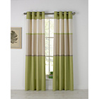 more details on HOME Banded Stripe Unlined Eyelet Curtains - 117x137cm-Green