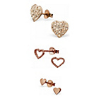 more details on Rose Gold Plated Silver Heart Stud Earrings - Set of 3.