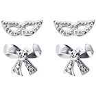 more details on Sterling Silver Eyemask and Bow Stud Earrings - Set of 2.