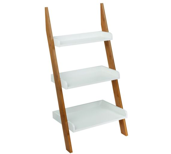 3 Tier Bamboo Ladder Shelving Bathroom Storage Wall Rack Shelf Organiser White Ebay