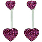 more details on Link Up Sterling Silver Pink Heart Double Front Earrings.