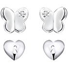 more details on Sterling Silver Butterfly and Heart Stud Earrings - Set of 2