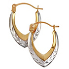 more details on 9ct Gold 2 Colour Diamond Cut Teardrop Creole Earrings.