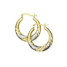 more details on 9ct Bonded Gold 2 Colour Diamond Cut Twist Creole Earrings.