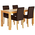 more details on Newton Oak Stain Dining Table & 4 Chocolate Chairs.