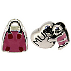 more details on Miss Glitter S.Silver Kids Enamel Pink Mum and Bag Charms.