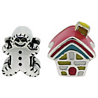 more details on Miss Glitter S.Silver Kids Gingerbread Man and House Charms.