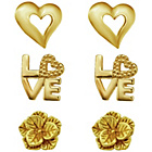 more details on Gold Plated Silver Heart Love and Flower Earrings - Set of 3