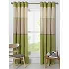 more details on Banded Stripe Unlined Eyelet Curtains - 168x229cm - Green.